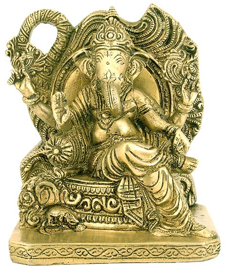 Lord Vinayak Seated on Throne - Brass Statue