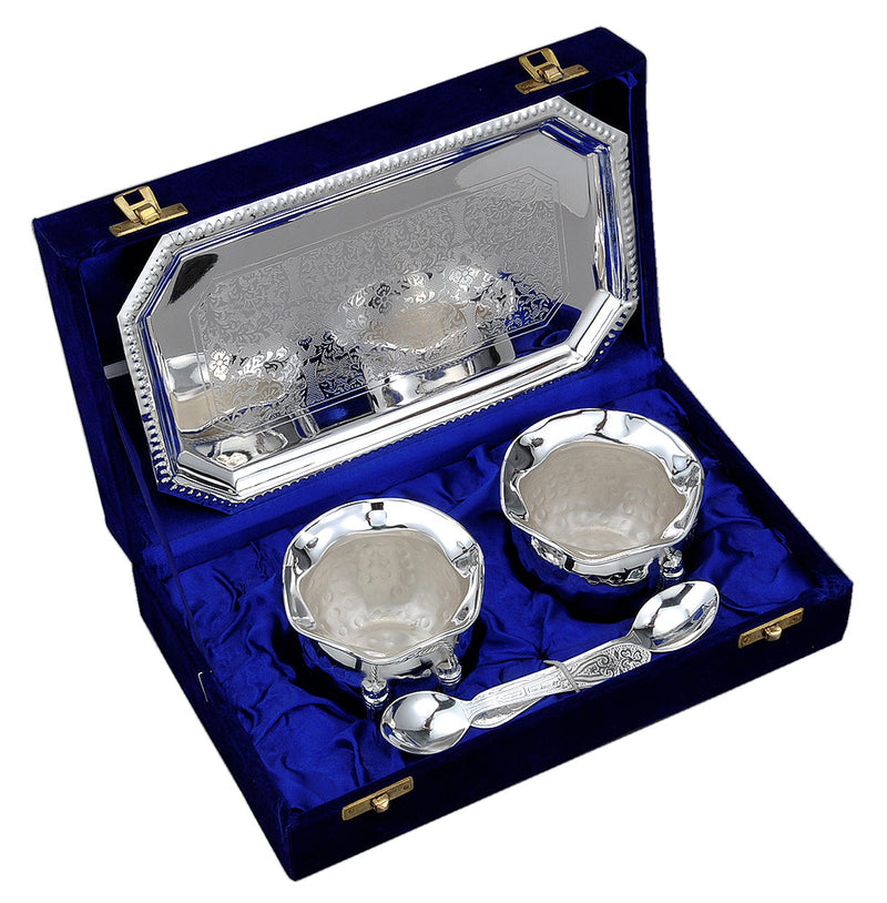 Silver Plated Dessert Bowls with Spoons & Tray in Velvet Box