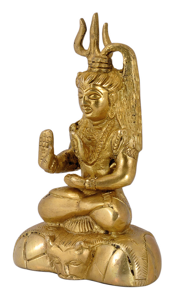 Brass Statue Blessing Lord Shiva