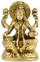Goddess Laxmi with Pot of Wealth - Brass Statue