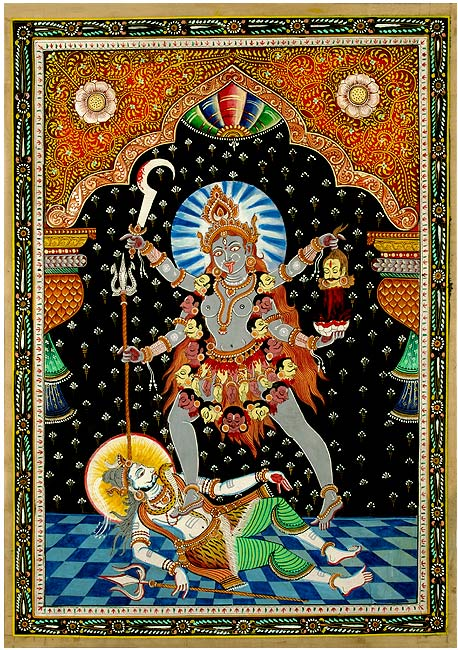 """The Merciful Kali"" Patachitra Silk Painting"