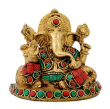 Seated Ganpati Brass Idol