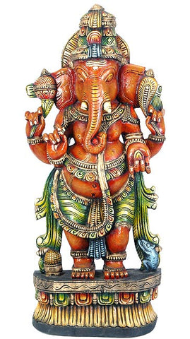 Standing Ganpati - Wood Sculpture 36""
