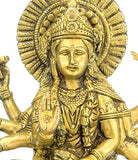 Bhagwati Durga Riding a Tiger - Brass Statue