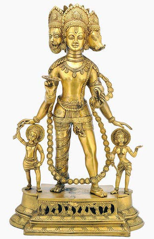 Lord Vishnu as Vaikuntha - Brass Sculpture 24""