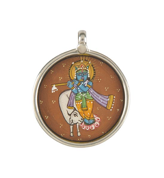 Krishna with Cow - Hand Painted Pendant