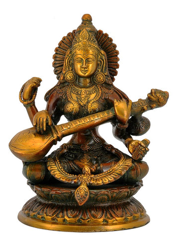 Goddess Saraswati with Veena Brass Statue 9.25""