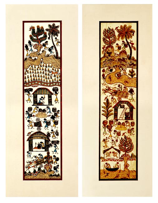 Day's Chorus ( set of 2 ) - Wali Tribal Art Painting