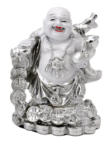 Silver Finish Laughing Buddha