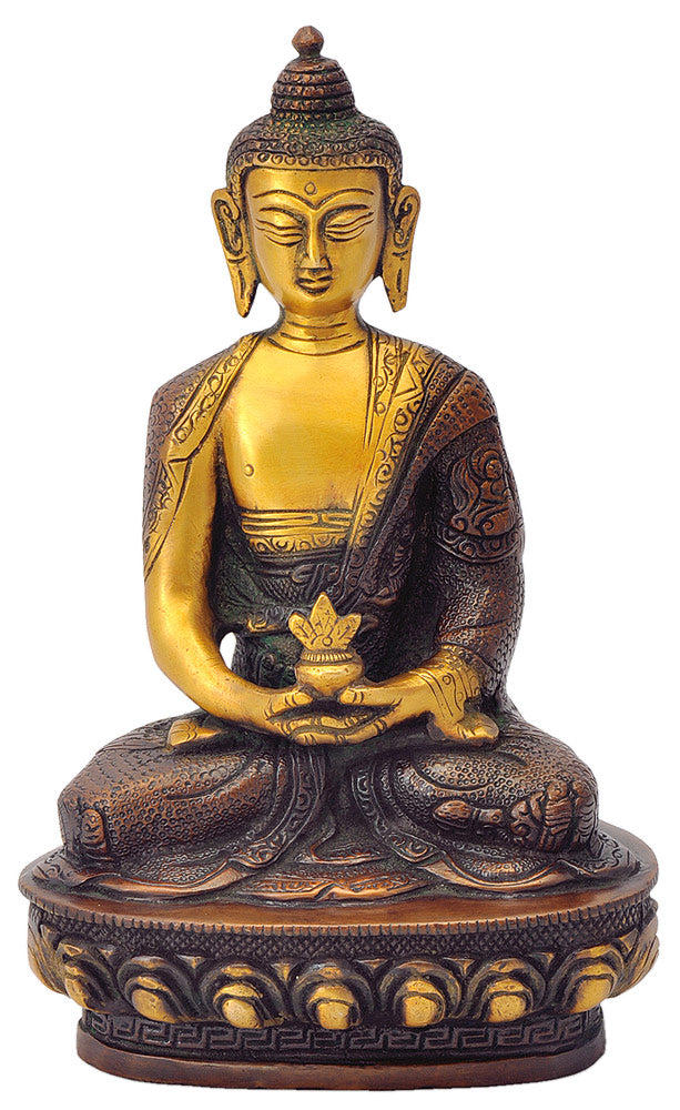Medicine Buddha Brass Statue in Copper Red Finish