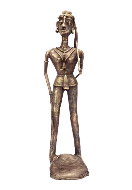 A Trible Farmer-Casted Bell Metal Sculpture