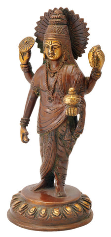 Lord Dhanvantari Statue - Copper Red Finish