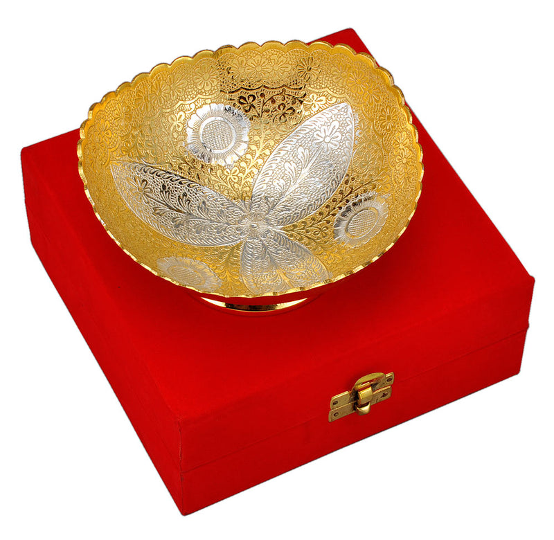 Gold Silver Plated Brass Bowl with Red Velvet Box