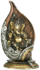 Lord Ganesha in Conch Shell - Brass Statue