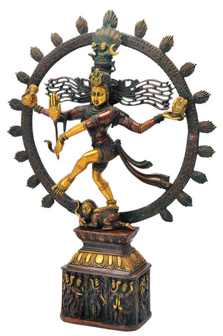 Antiquated Brass Figurine of Lord Natarajan 23""