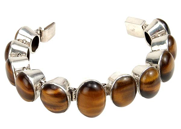 Sunset Glow - Tiger Eye, Silver Bracelet