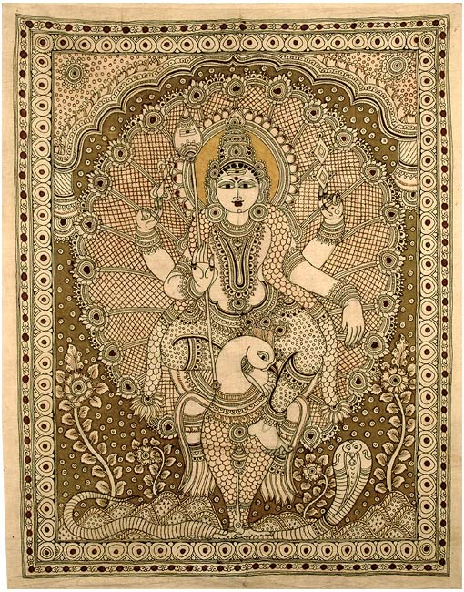 """Lord Kartikeya"" Cotton Kalamkari Painting"