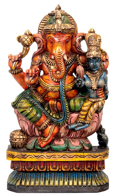 Ganesha with Lakshmi Seated on Lotus - Wood Statue