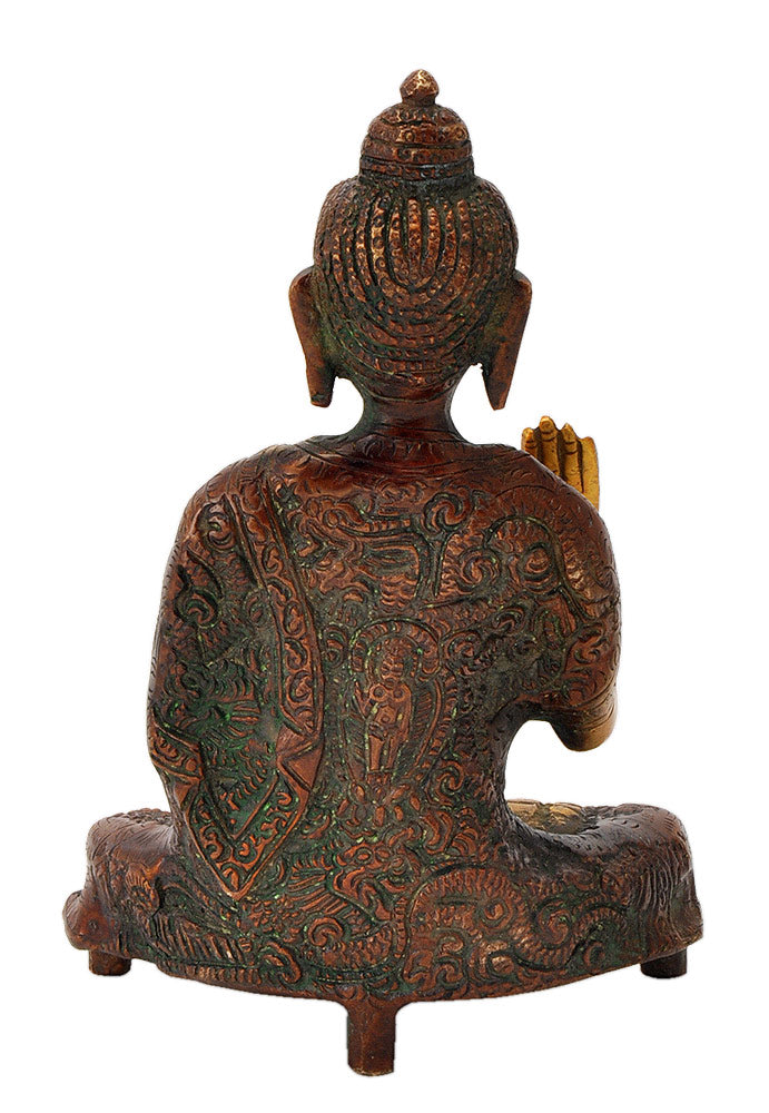 Blessing Buddha Engraved Robe Figure 6.50""