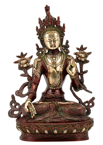 Savioress Goddess Tara - Antiquated Brass Statue 12""