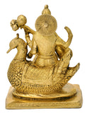 Brass Sculpture Mata Saraswati Playing Veena