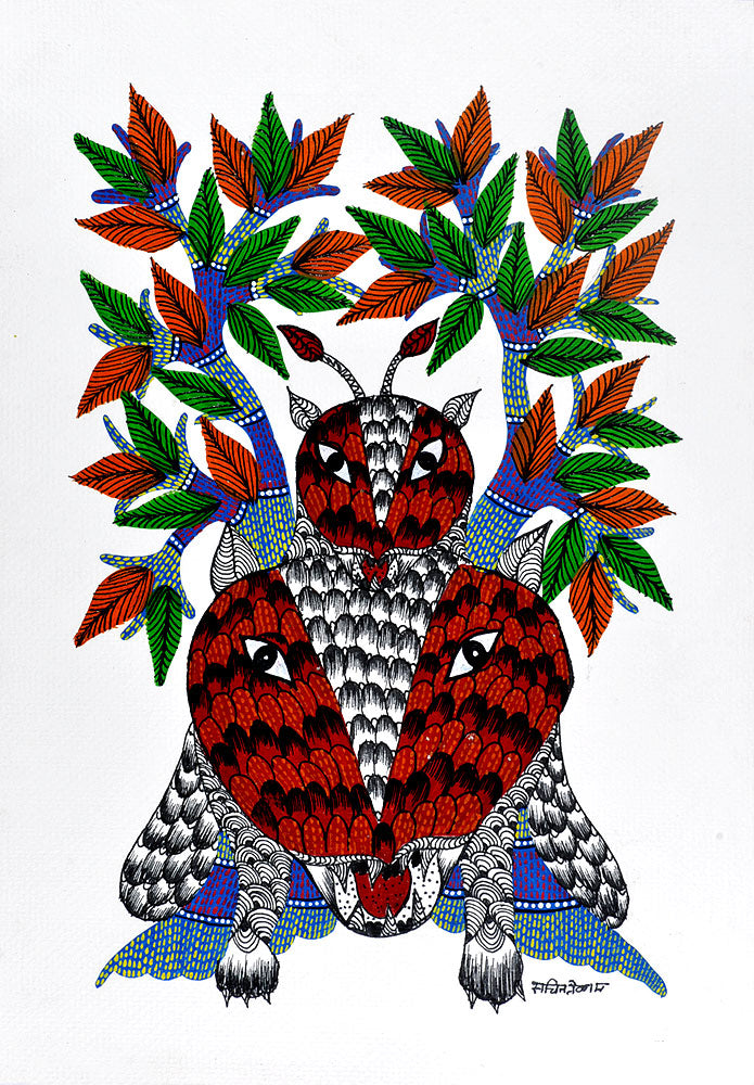"Gond Tribal Painting ""Tigers"" 14"""