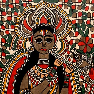 """Radha Madhav"" Symbol of Unconditional Love - Mithila Painting 30"""