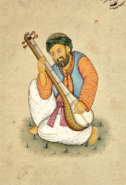 Indian Sitar Musician - Miniature Painting