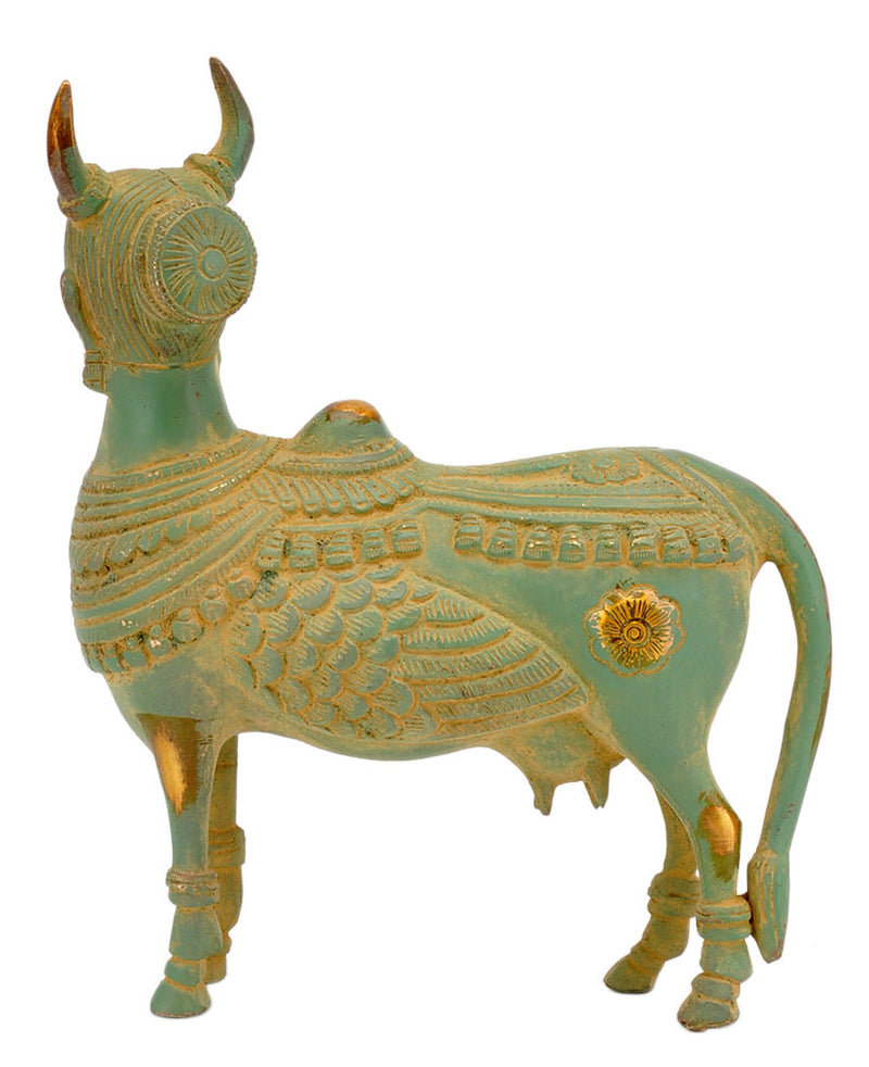 Antique Green Finished Kamdhenu Cow