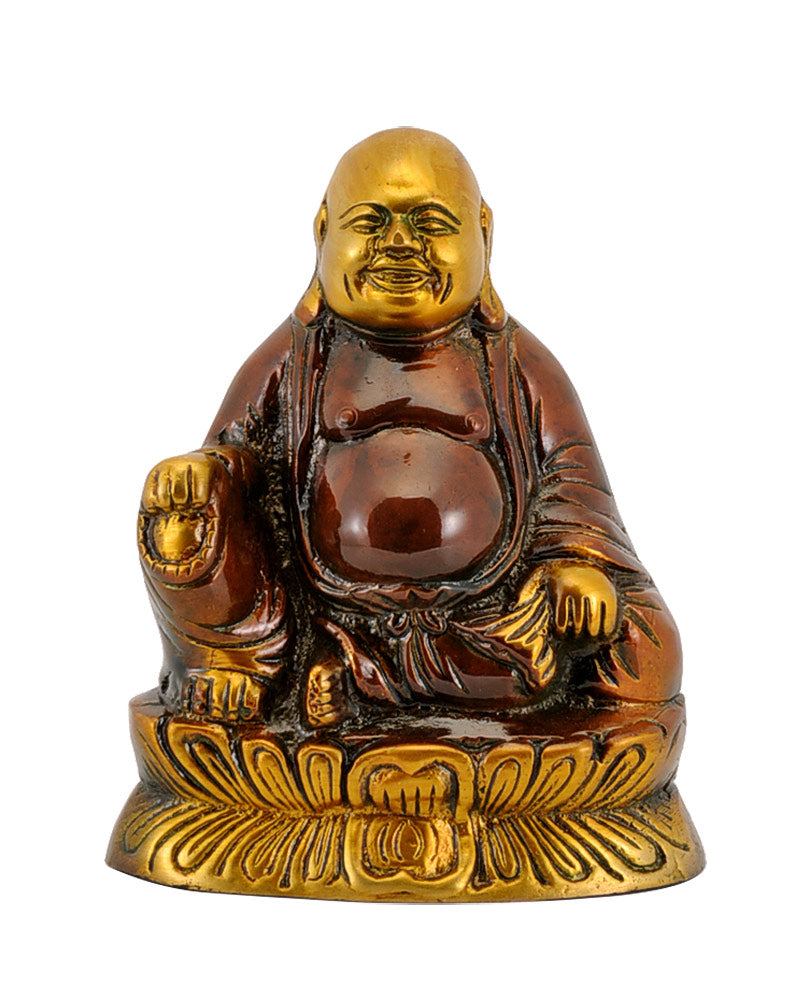 "Good Luck for All ""Laughing Buddha"" Brass Statue"