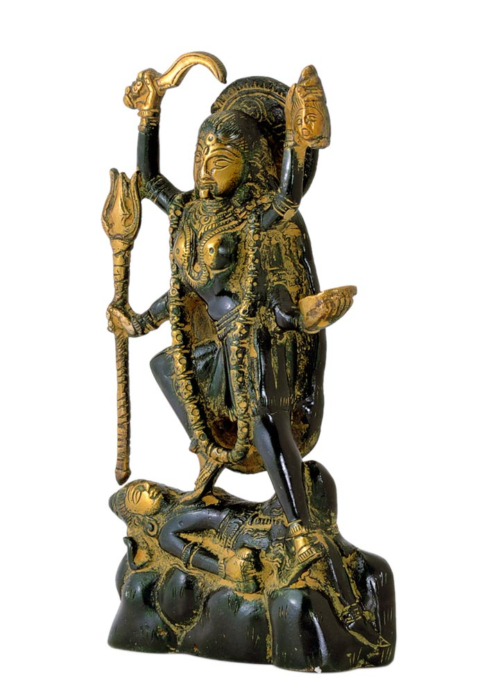 Goddess Kali Brass Statue in Antique Finish