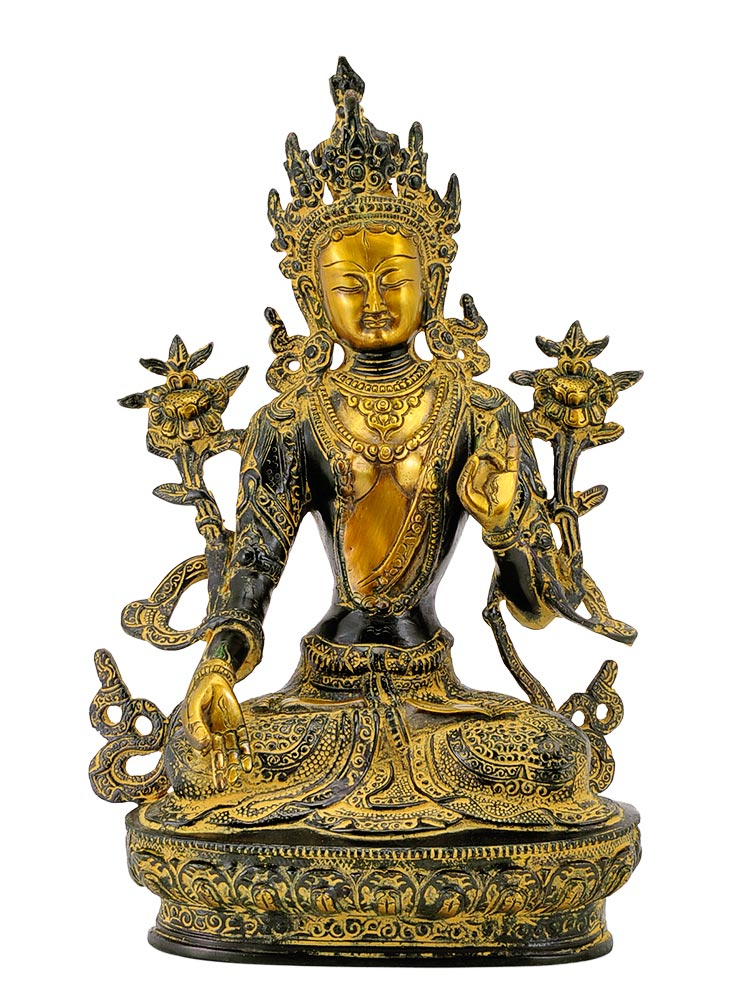 Devi Tara Decorated Brass Sculpture 12.25""