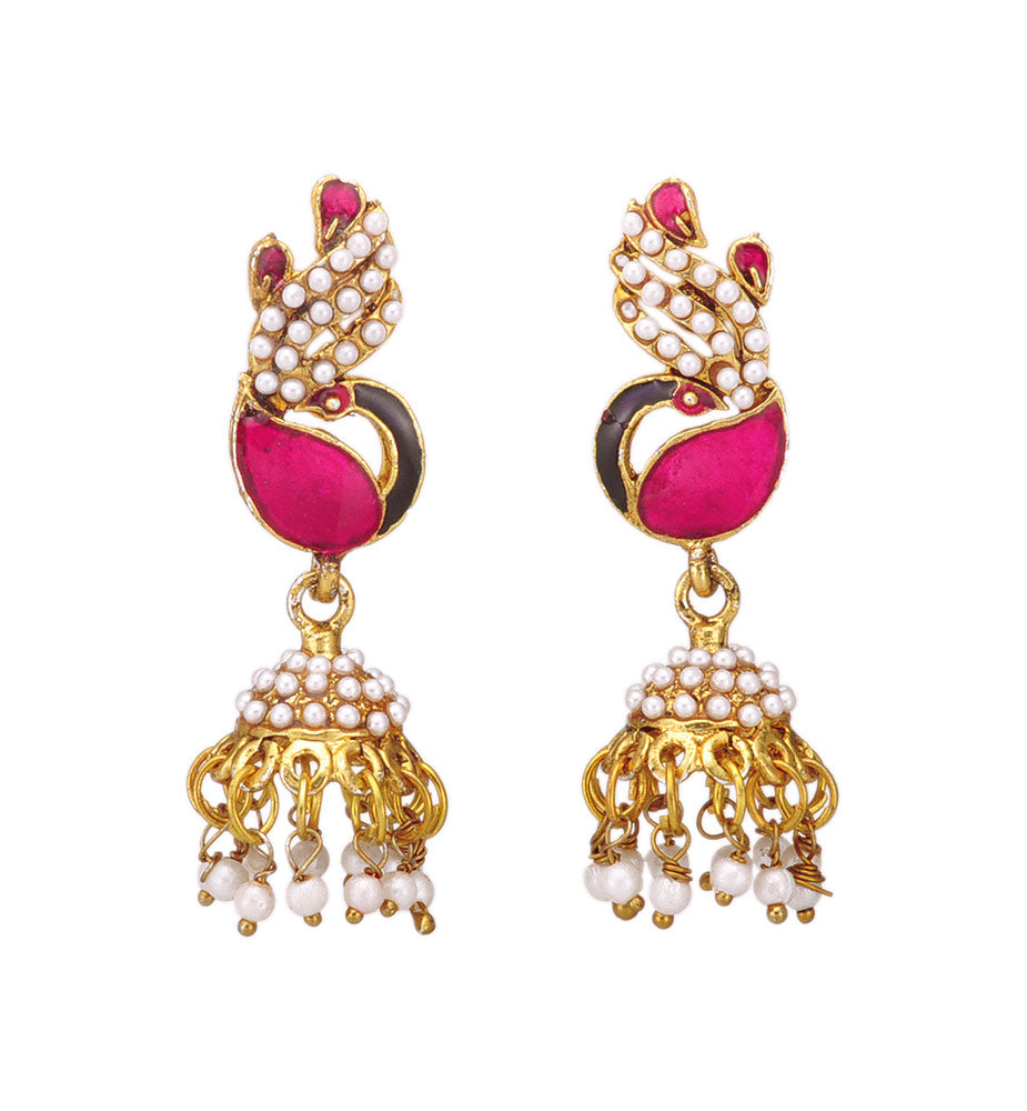 Stylish Fuchsia Peacock Design Jhumki
