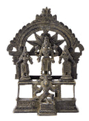 Antiquated Brass Lord Vishnu with Bhudevi and Sridevi