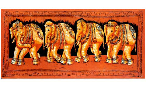Marching Elephants - Batik Painting