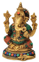 Seated Lord Vinayaka Brass Statue