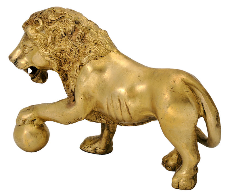 Brass Lion Sculpture 7.25""