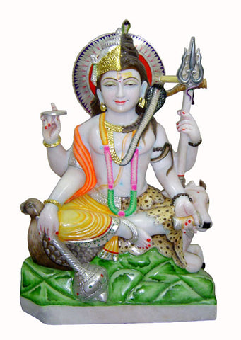Harihara Combined Form of Vishnu and Shiva - Marble Statue 30""