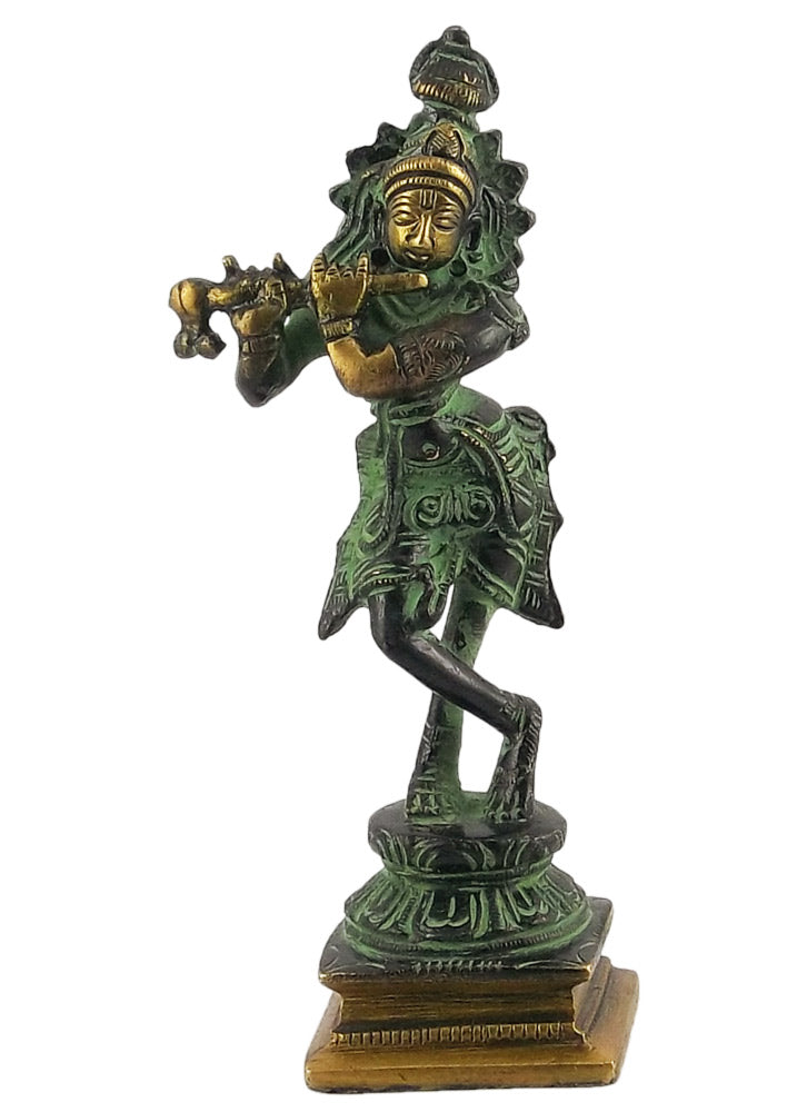 Lord Murli Manohar Krishna - Black Finish Brass Statue