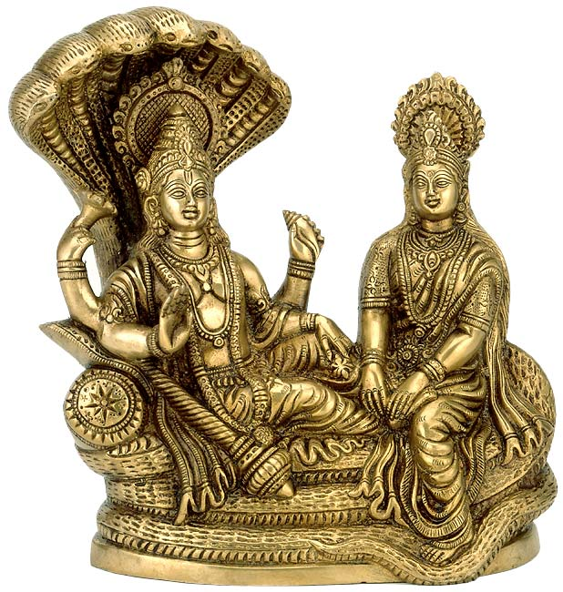 Lord Vishnu with Lakshmi Rests Upon Shesha Naag