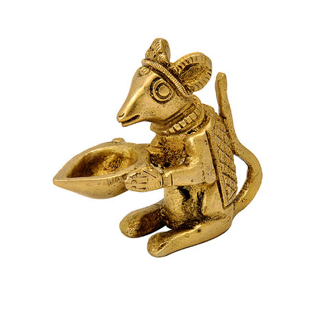 Mouse Holding Lamp - Brass Figure 2.25""