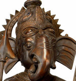 Ganesha The Spiritual Warrior - Large Brass Statue