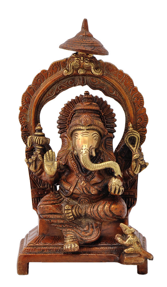 Lord Ganesh Maharaj Seated on Throne 8""