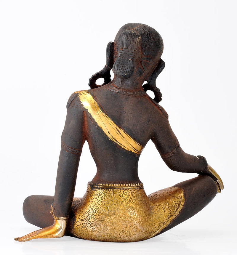 Seated Goddess Tara - Old Rustic Finish Brass Statue