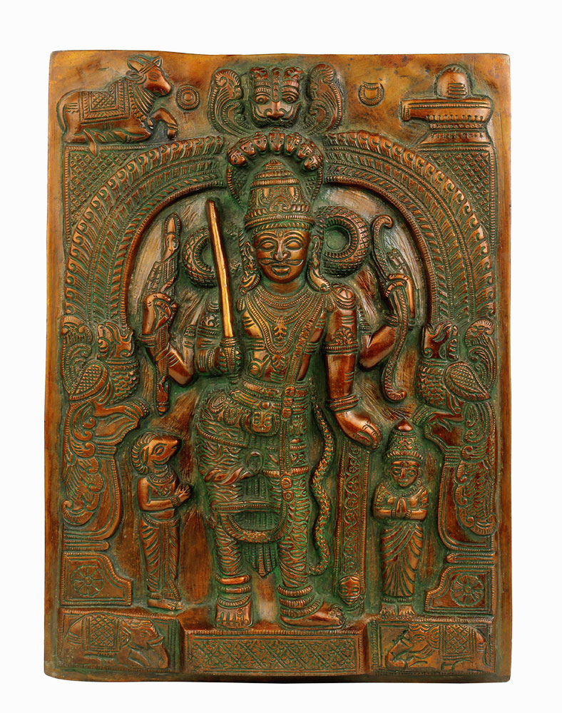 Veerabhadra Wall Plaque in Antique Finish 11.75""