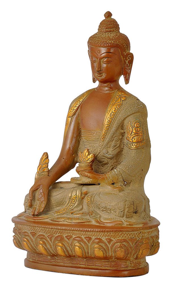 Antique Finish Medicine Buddha with Carved Robe