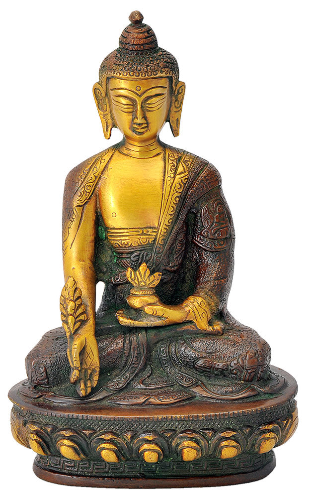 Medicine Buddha Sculpture in Golden Brown Finish