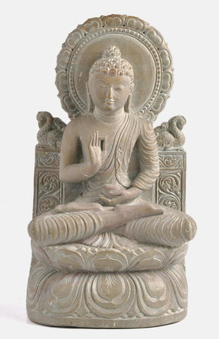 Blessing Buddha - Hand Carved Stone Statue 8""