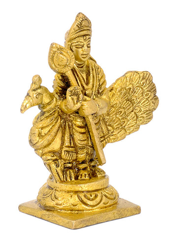 Lord Murugan Standing with Peacock - Small  Brass Figurine