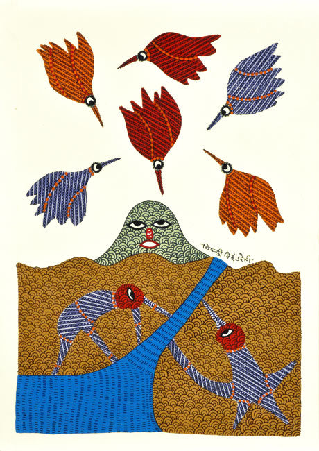 "Gond Painting ""Beautiful Nature"""